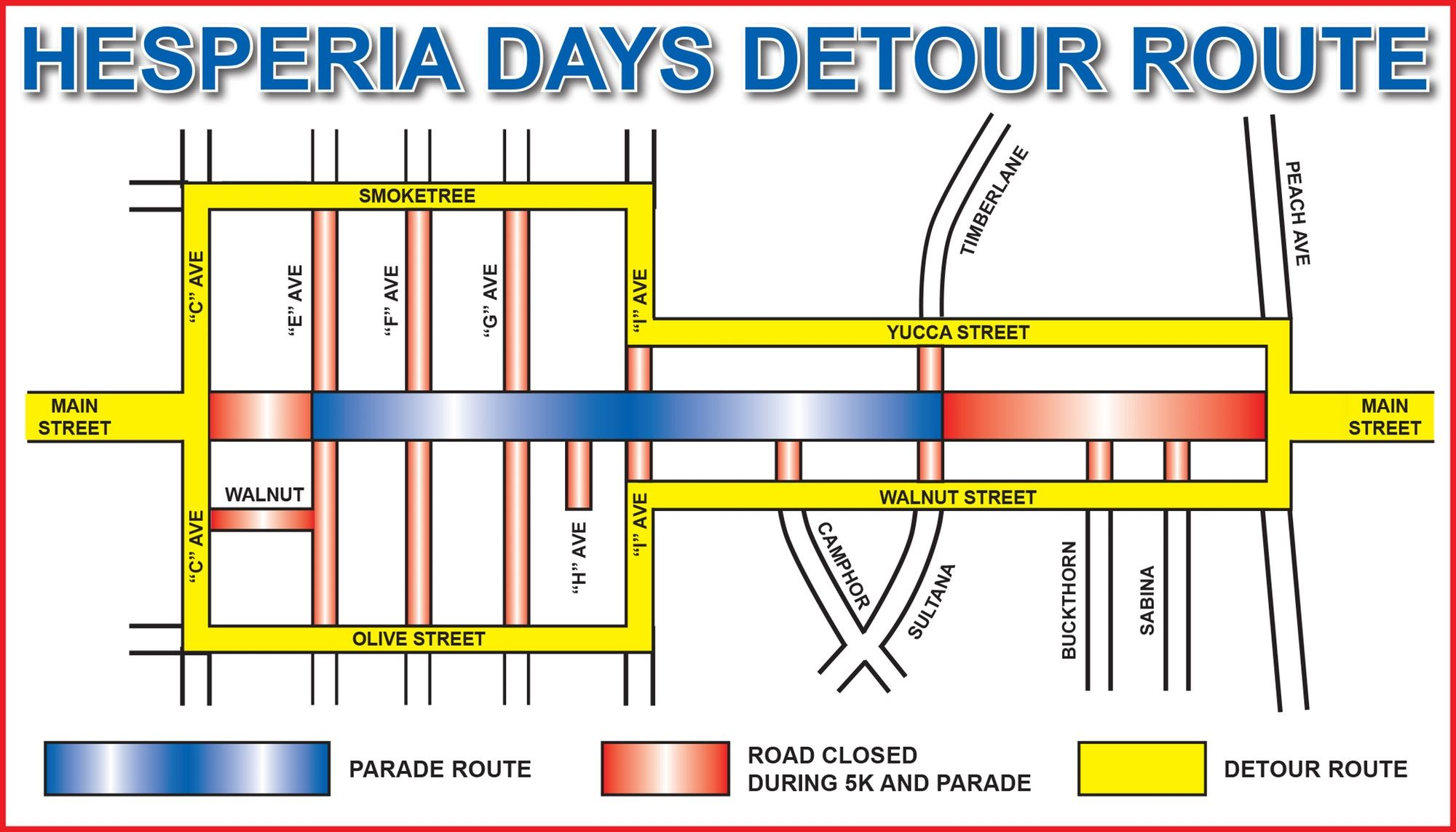 Hesperia Days Parade Detour Map